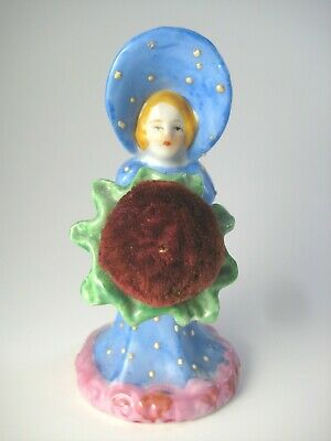 Sunbonnet Lady Pincushion Vintage Porcelain Girl & Flower Figurine Made in Japan