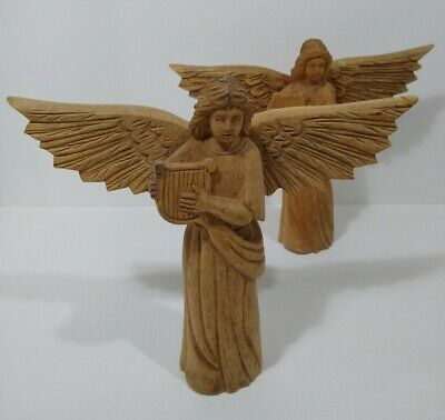 """Lovely Lot of 2 Hand Carved Wooden Angels 10.5"""" Tall 12"""" Wide"""