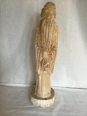 Chinese  Vintage Carved  Wise Man Stone Alabaster Marble 15'' Height