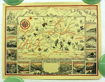 1939 map of Appalachian Mountain Club AMC Hut System - MUST SEE!
