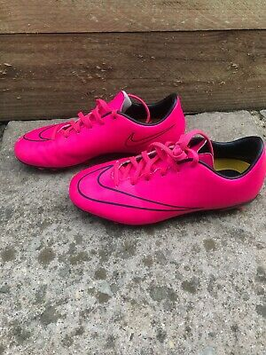 Girls Boys Nike Mercurial Support Football Boots Pink Size UK 4.5