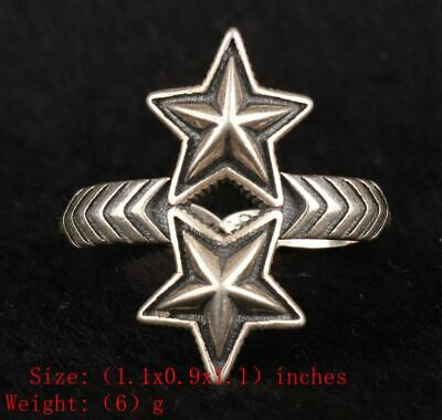 Precious Chinese 925 Silver Solid Silver Real Silver Ring Star Handmade Gift