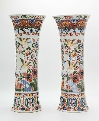 """Pair Large 17"""" Antique 19th Century Dutch Delft Faience Polychrome Ribbed Vases"""
