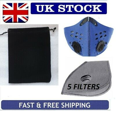 BLUE TRAVEL PM2.5 ANTI SMOG POLLUTION FACE MASK 5xACTIVATED CARBON FILTER UK