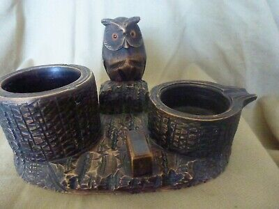 Black Forest wood carving -- tobacco jar - pipe rest - matchbox holder and owl..