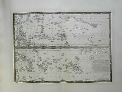 Polynesia Pacific Islands Hawaii 1836 Brue large detailed map hand color