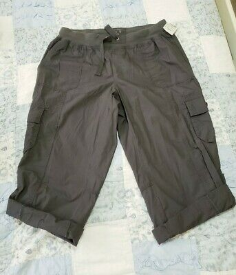 Calvin Klein Womens Pants gray Size Large L Convertible Cropped Cargo