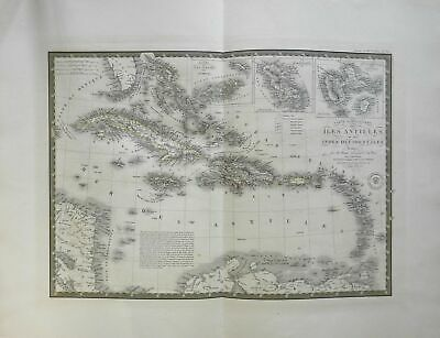 Caribbean Sea East Indies Cuba Jamaica 1836 Brue large detailed map hand color