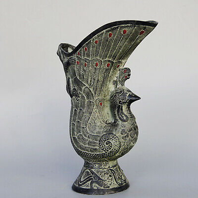 Collectable China Old Bronze Handwork Carve Peacock Interesting Royal Wine Cup
