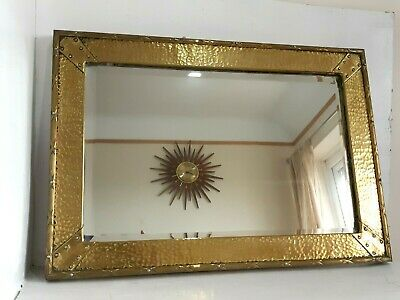 Large Antique Wooden Hand Hammered Brass Metal Arts & Crafts Period Wall Mirror