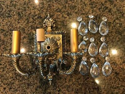 Vintage Antique Heavy Brass Wall Sconce 3 Arm Hard Wired Light Fixture Crystals