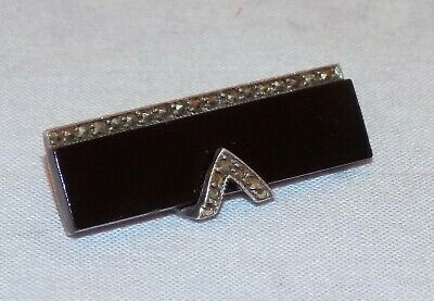Antique Art Deco Geometric Design Hallmarked Silver Marcasite French Jet Brooch