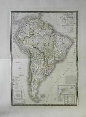 South America Brazil Chile Colombia 1836 Brue large detailed map hand color