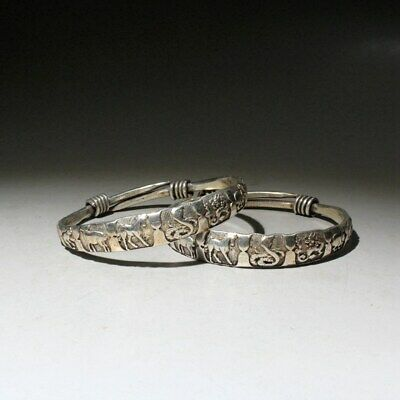 Collect China Old Miao Silver Hand-Carved A Pair Of Chinese Zodiac Rare Bracelet