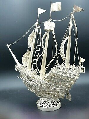 Antique Vintage Chinese Solid Sterling Silver Export Filigree Wire Boat Ship