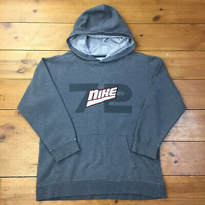 Vintage Nike - Ladies Grey 72 Overhead Hoodie with Red White Spell Out - XL 18