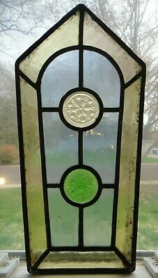 """12"""" x 6"""" Antique Stained Glass Panel with Jewels - Victorian Leaded Window"""