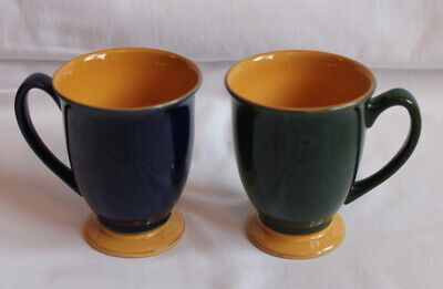Denby Pottery Spice Mugs x 2 Good Condition - blue, green, orange colours