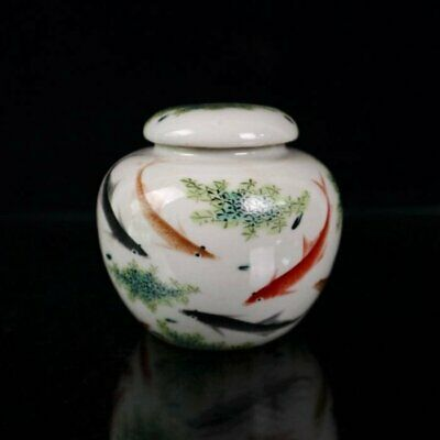 Collect Chinese old Handwork famille rose porcelain goldfish tea caddy jar /Wb01