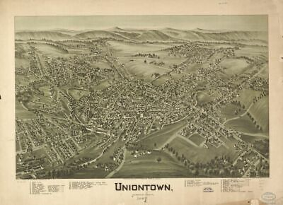 Reprinted Vintage Map of Uniontown Pennsylvania 1897.