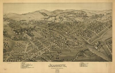 Reprinted Vintage Map of Jeannette Westmoreland County Pennsylvania 1897.