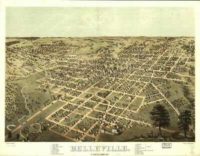 Reprinted Vintage Map of Belleville St. Clair Co. Illinois 1867.