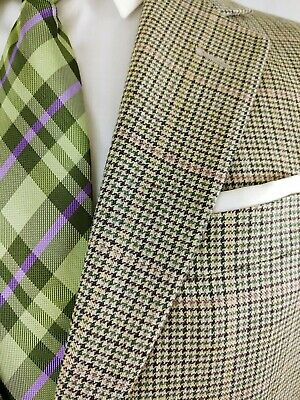 Brooks Brothers Houndstooth Silk Linen Wool Blazer Sport Coat Jacket Mens 38R