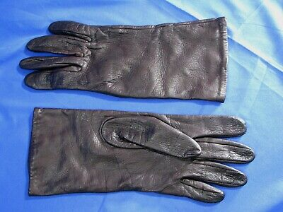 Vintage DARK BROWN GATES Lambskin LEATHER GLOVES Silk Knit Liner LAMB SKIN XL-8