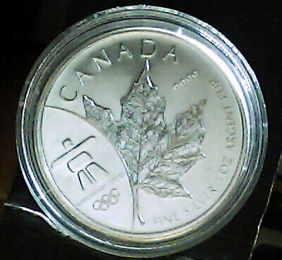2008 Canadian Maple Leaf, Olympic silver, .9999 pure in Capsule