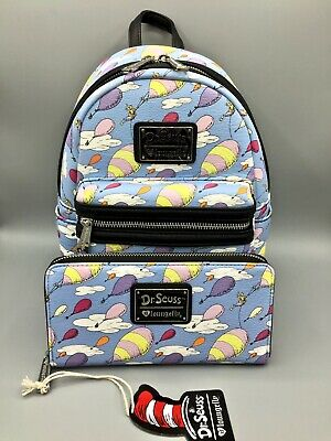 NWT Loungefly Dr. Seuss OH THE PLACES YOU'LL GO Mini Backpack & Wallet Set