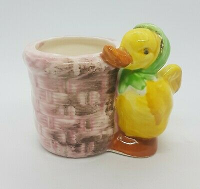 Easter Gift? Vintage Egg Cup Duck with Basket Character
