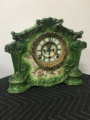 Beautiful Early Ansonia Porcelain Open Escapement Mantle Clock.