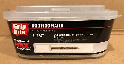 "(1 Lb) Annular 1 1/4"" Ring Shank Solid 304 Stainless Steel Roofing Nails"