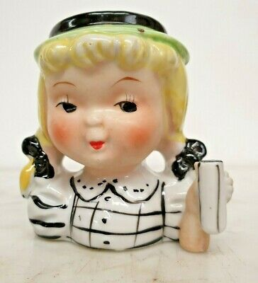 Vintage Young Girl White Checkered Dress With Green Hat Black Bow Head Vase