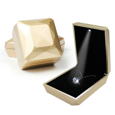Deluxe Glossy Wooden LED Lighted Engagement Ring Box Jewelry Gift Box Tan Suede