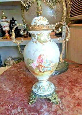 Vintage Sevres Style Porcelain and Bronze Lided Urn.