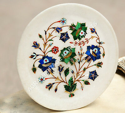 "9"" White Marble Round Serving Plate Lapis Malachite Inlay Design Decor H4789"