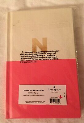 "KATE SPADE NEW YORK Gold Foil ""N"" Dipped Notebook Journal Pink/White, NEW NEW!"