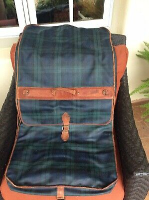 Wonderful  Weathered Vintage Polo Ralph Lauren Plaid Duffle /Garment Luggage Bag
