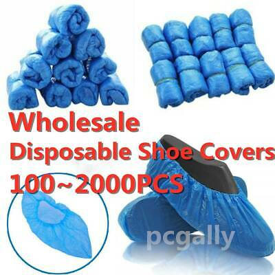 2000 Disposable Shoe Cover Blue Anti Slip Plastic Cleaning Overshoe Boot Safety