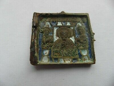 """antique XIXc RUSSIAN Bronze icon""""Mother of God Our Lady of the Sign Enamel"""
