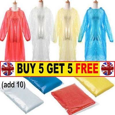 Emergency Hooded Plastic Clear Reusable Poncho For Adults One Size RW3674