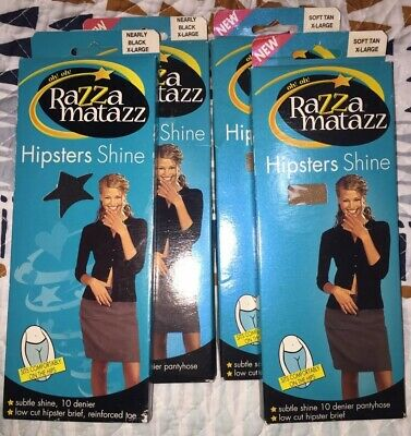 Razzamatazz Pantyhose Bulk Lot Hipsters Shine XLarge New!