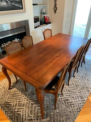 Antique Dining Table, French Oak with extension and 6 chairs