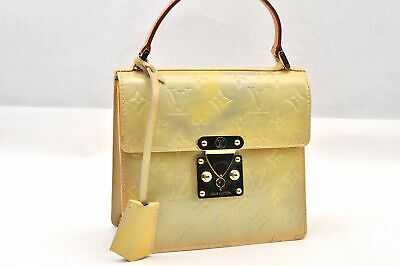 Authentic Louis Vuitton Vernis Spring Street Hand Bag Yellow LV 93769