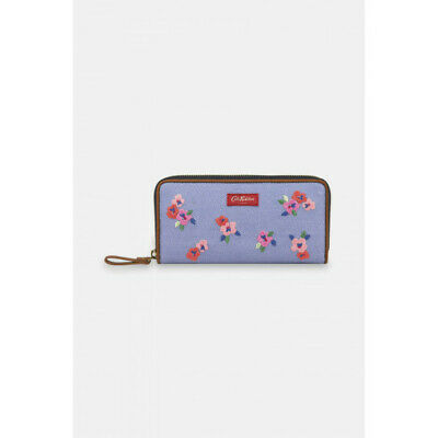 Cath Kidston Painted Pansies Premium Embroidered Continental Zip Wallet - Blue