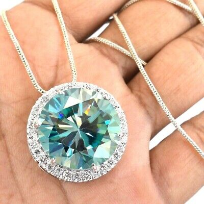 5.60 ct Certified Blue Diamond Pendant with White Sapphire Accents !