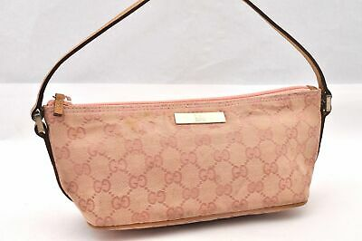 Authentic GUCCI Hand Bag GG Canvas Leather Pink 93957