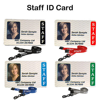 "Plastic Card Staff Photo ID Badge Personalised Custom With ""Staff"" Lanyard"