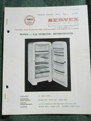 1959 Servex Electrical Co. Technical Bulletin Model-AAJ Domestic Refrigerator.